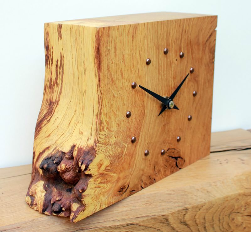 Square Rustic Oak Mantel Clock