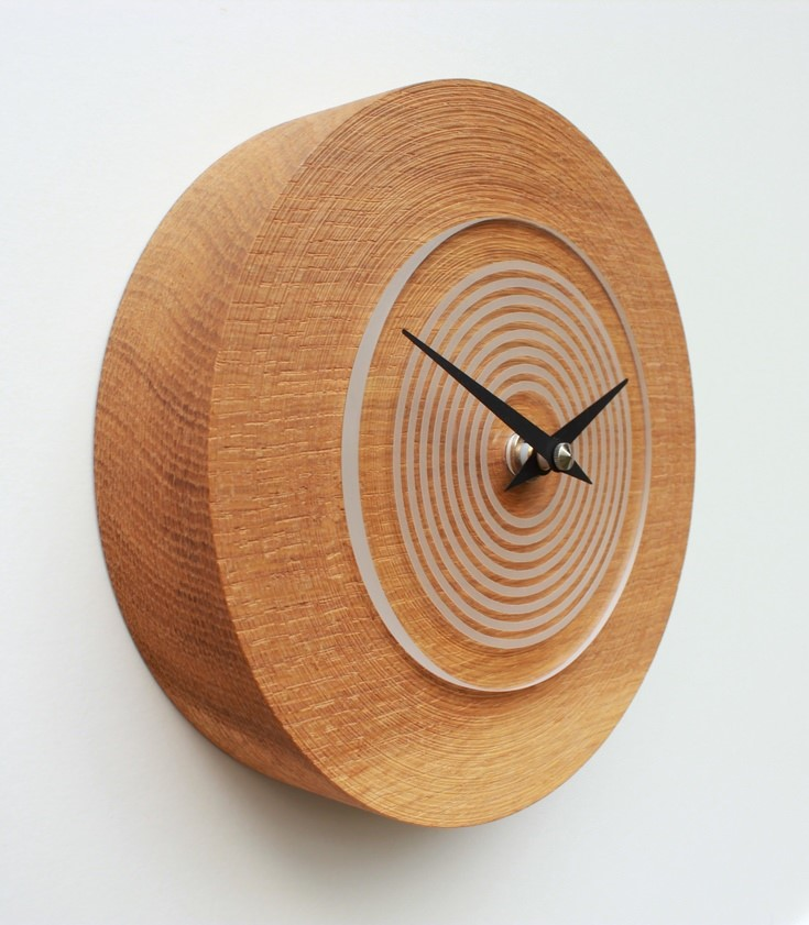 Small Round Oak Wall Clock with Acrylic Face