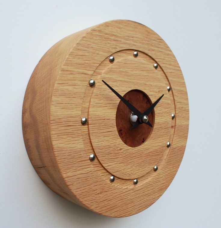 Small Round Oak Wall Clock with Elm Face
