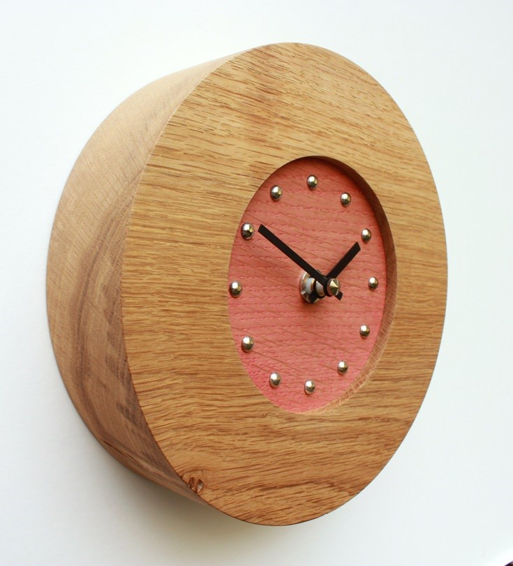 Small Round Oak Wall Clock with Red Face