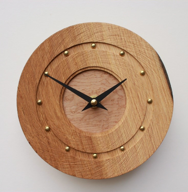 Small Round Oak Wall Clock with Textured Face