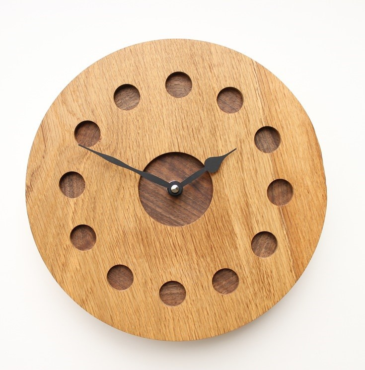 Turned Oak Wall Clock with Inlaid Walnut