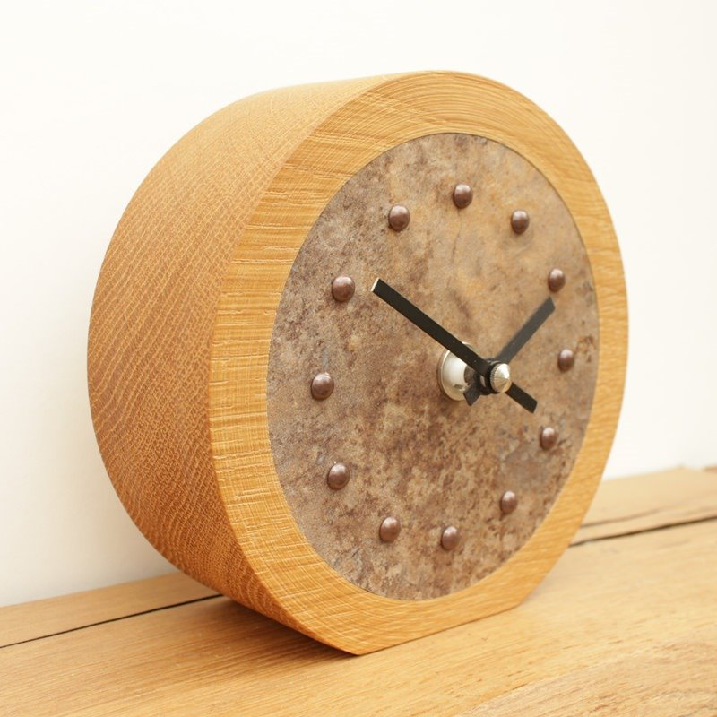 Oak Mantel Clock with Antique Lava Face