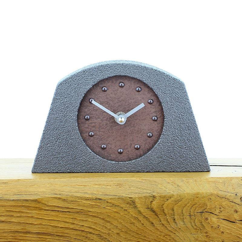 Metallic Styled Desk Clock - Arched Pewter Frame - Copper Face - Black Hands