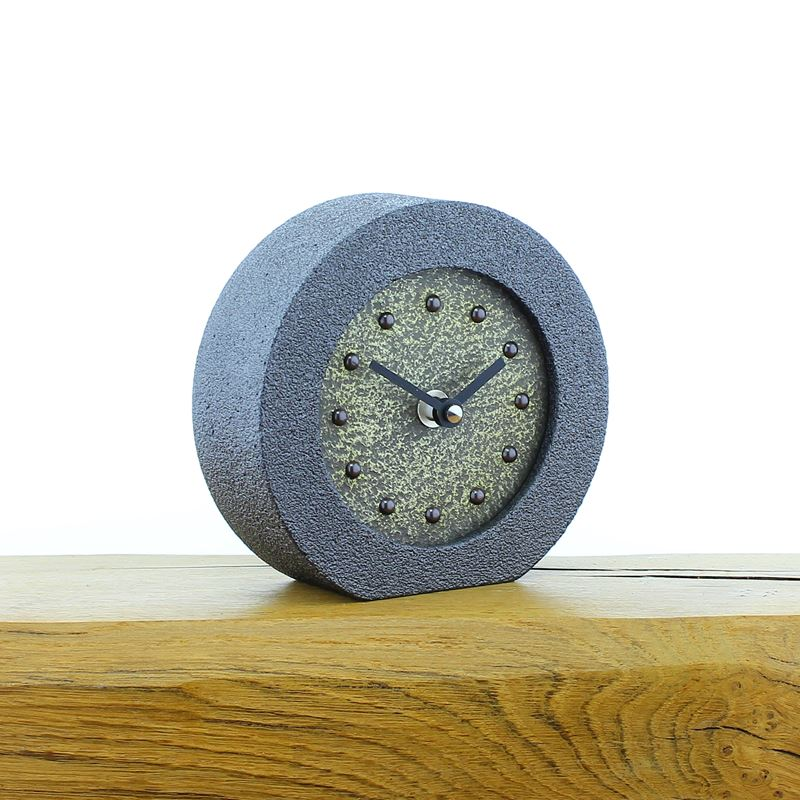 Metallic Styled Desk Clock - Round Pewter Frame - Brass Face - Black Hands