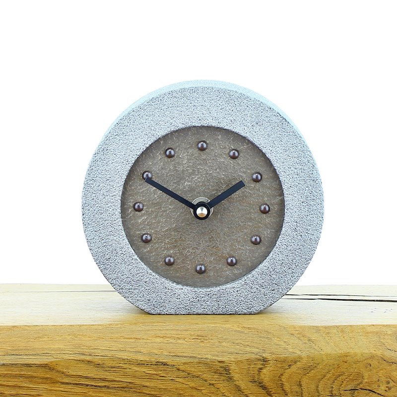 Metallic Styled Desk Clock - Round Silver Frame - Bronze Face - Black Hands