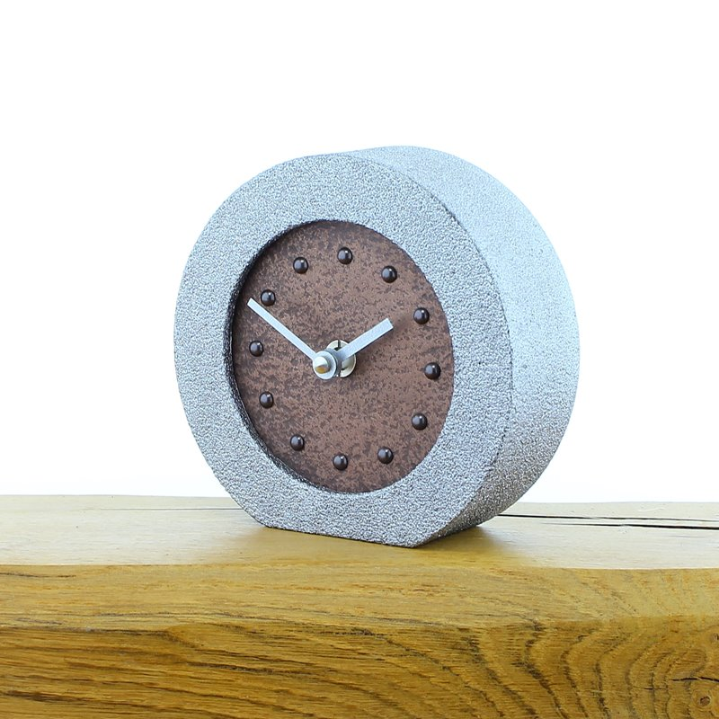 Metallic Styled Desk Clock - Round Silver Frame - Copper Face - Silver Hands