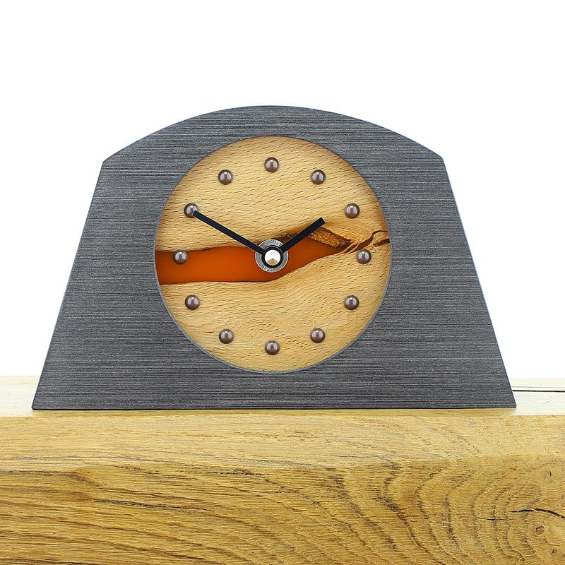 Arch Shaped Pewter Coloured Mantel Clock with Beech Face and Infused Semi Transparent Orange Resin, Antique Studs and Black Hands