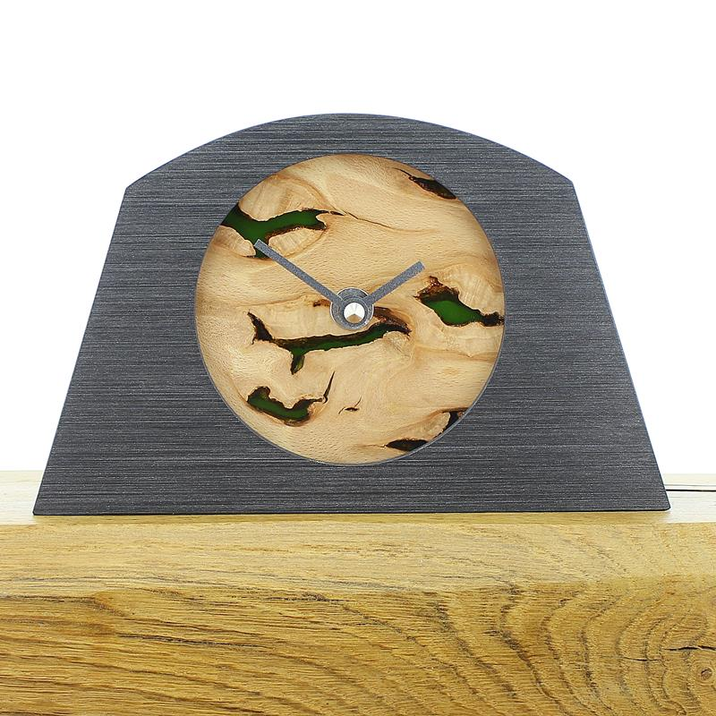 Arch Shaped Pewter Coloured Mantel Clock with Rustic Beech Face and Infused Semi Transparent Green Resin
