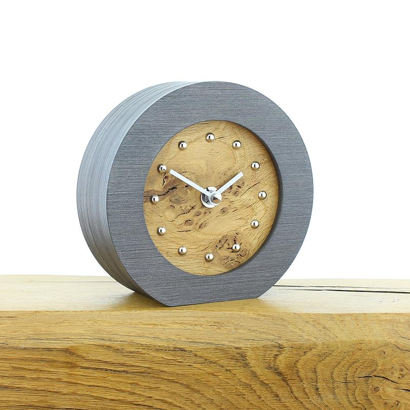 Rustic Oak Faced Mantel Clock with Silver Studs and Hands