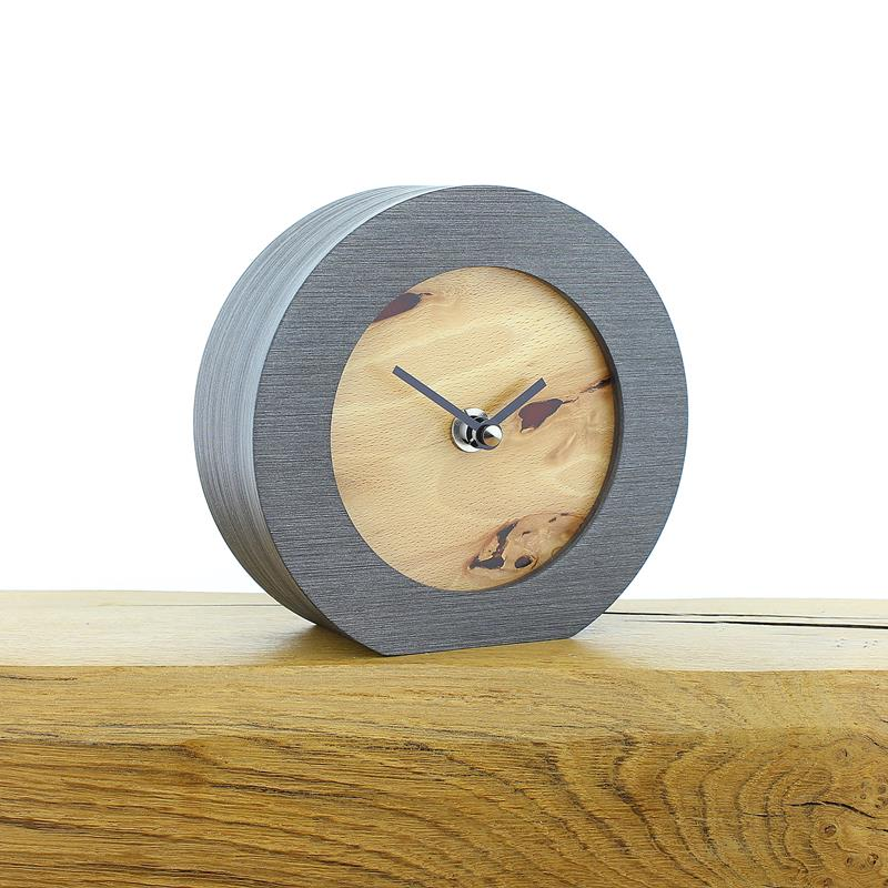 English Beech Faced Mantel Clock with Infused Red Resin