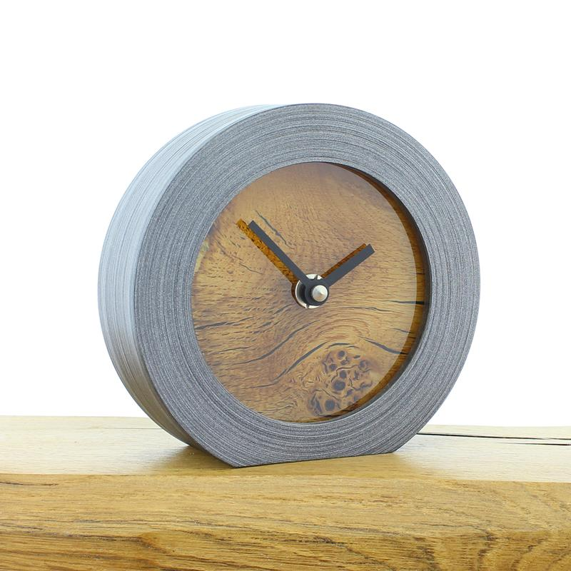 Pewter Coloured Mantel Clock with Rustic Oak Face