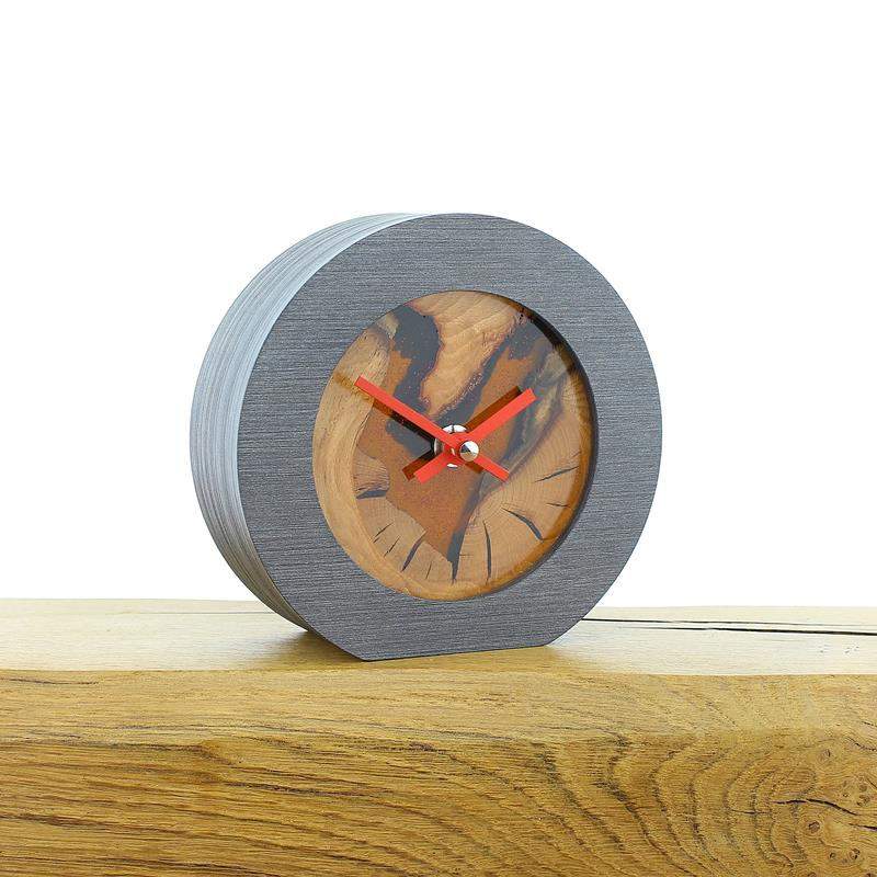Rustic English Beech Faced Mantel Clock with Infused Orange Resin and Sparkles
