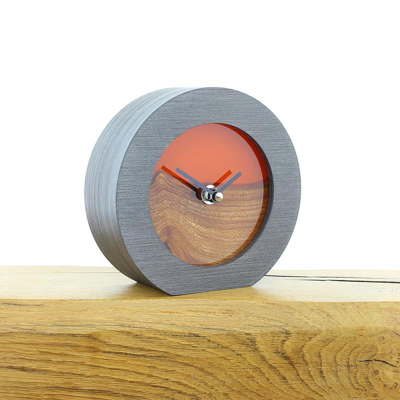 English Elm Faced Mantel Clock with Infused Orange Resin