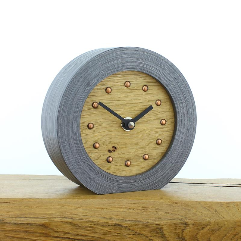 Pewter Coloured Mantel Clock with Oak Face, Copper Studs and Black Hands