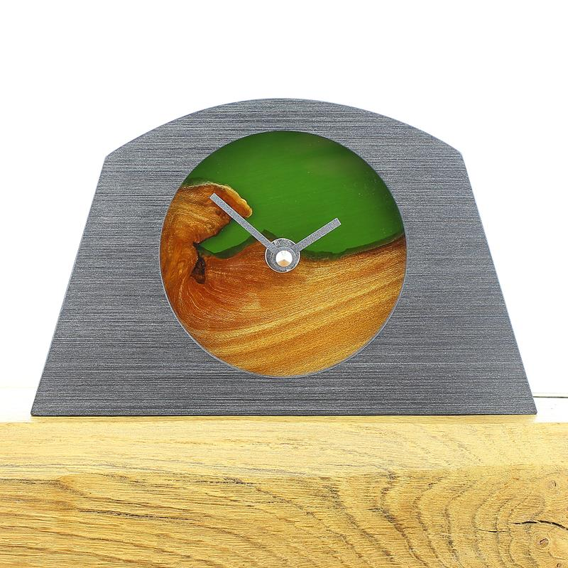 Arch Shaped Pewter Coloured Mantel Clock with a Natural Edged English Elm Face and Infused Green Resin