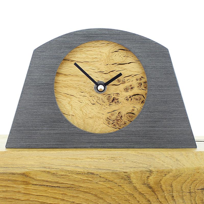 Arch Shaped Pewter Coloured Mantel Clock with a Rustic Oak Face