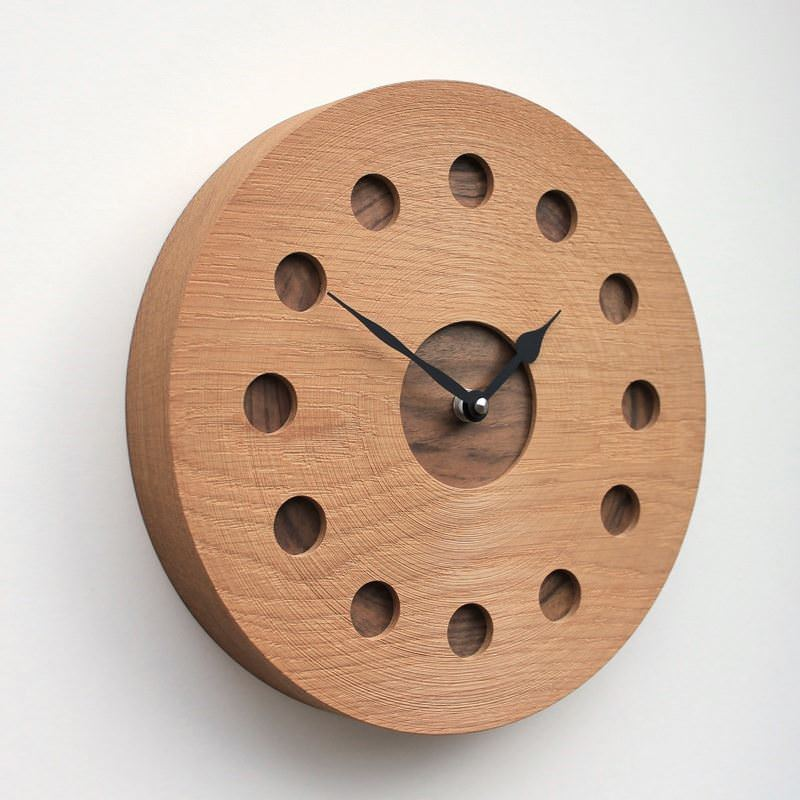 Round Oak Wall Clock with Inlaid Walnut at the Hour Positions