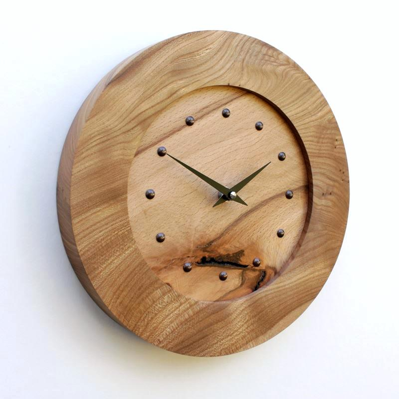 Elm Wall Clock with Inlaid Rustic Beech
