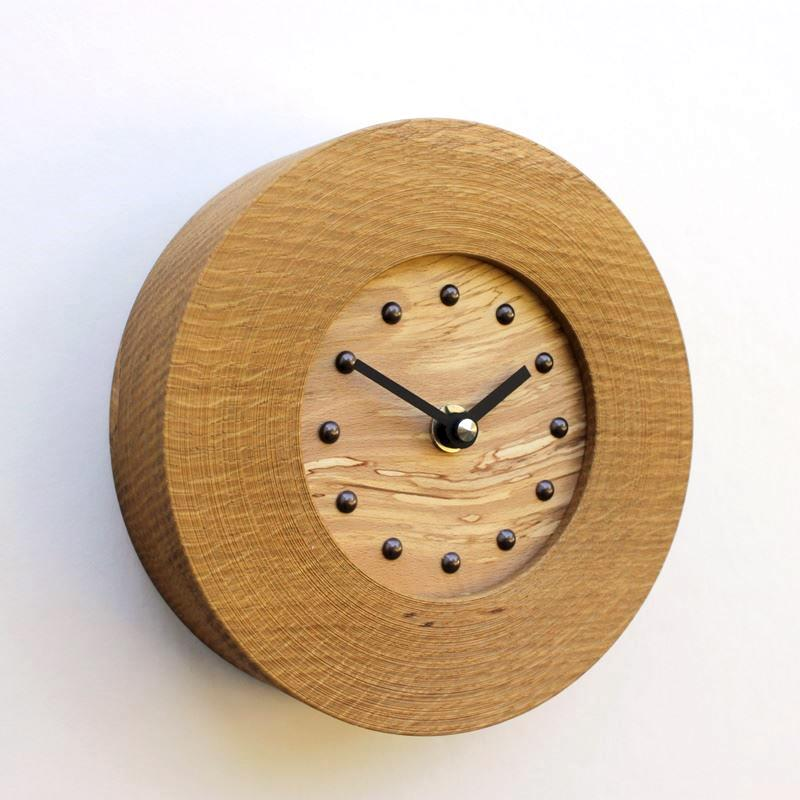 Oak Wall Clock with Inlaid Spalted Beech