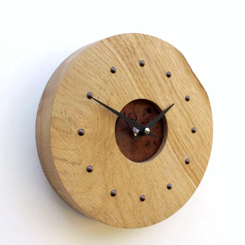 Oak Wall Clock with Inlaid Burr Elm