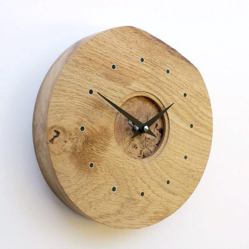 Rustic Oak Wall Clock with Burr Oak Face