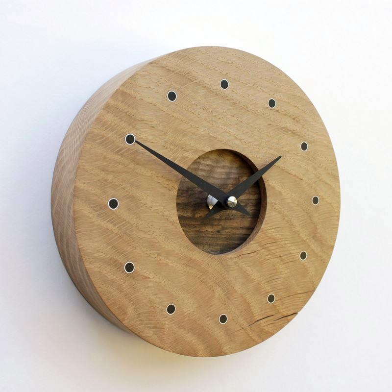 Small Round Oak Wall Clock with Walnut Face