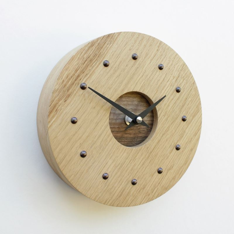 Round Oak Wall Clock with Inlaid Walnut Face