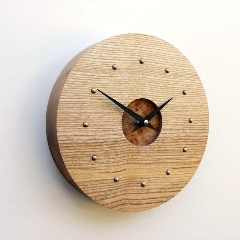 Ash Wall Clock with Cedar Burr Face