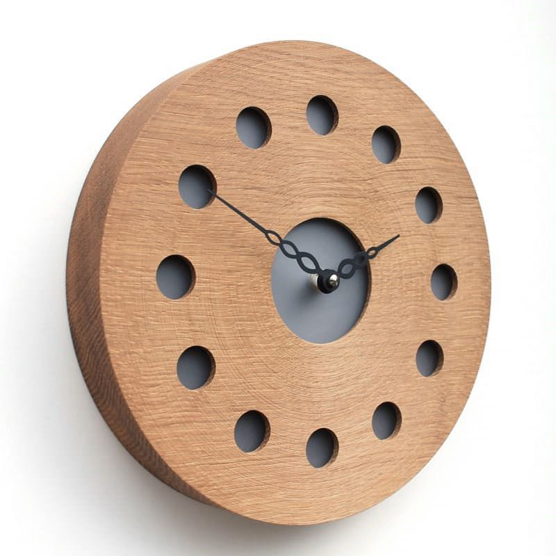 Round English Oak Wall Clock with Inlaid Black Acrylic at the Hour Positions