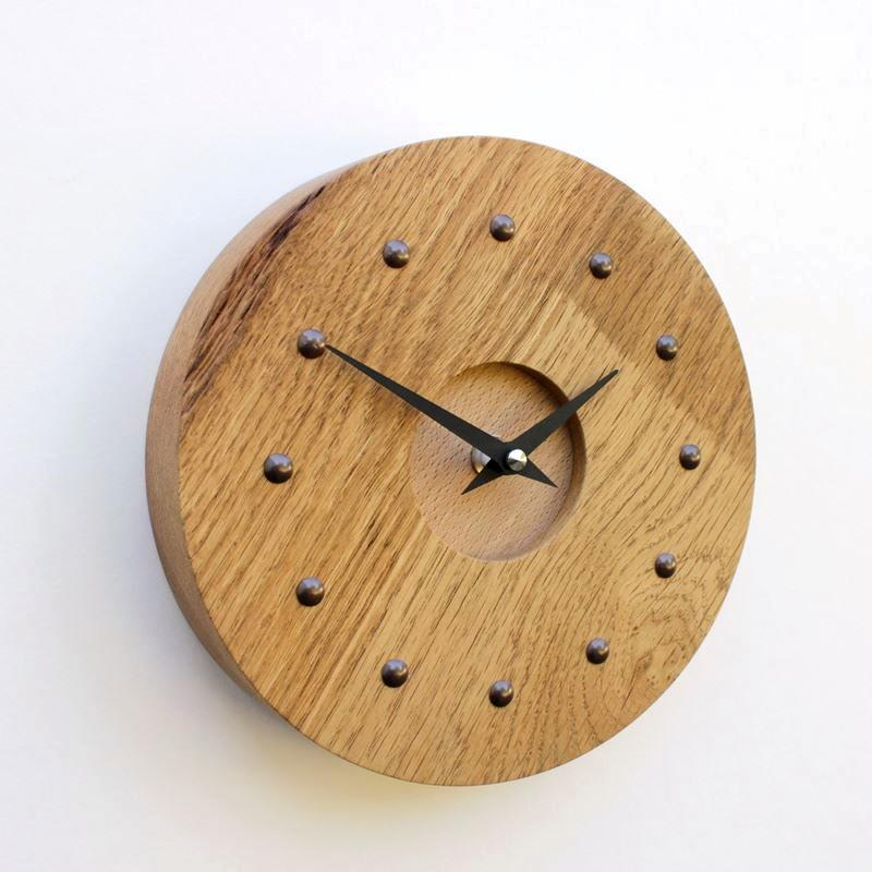 Reclaimed Oak Wall Clock with Beech Face