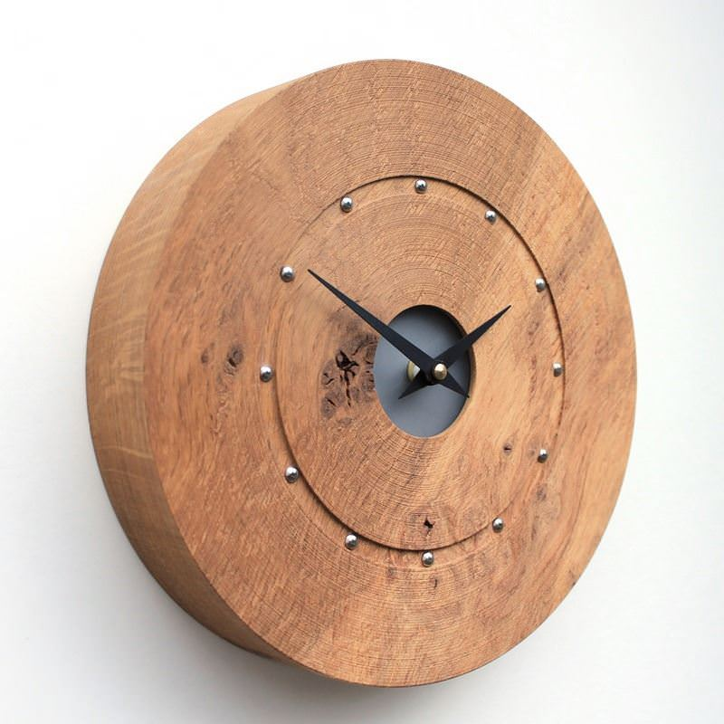 Round Rustic English Oak Wall Clock with Silver Studs at the Hour Positions and Black Acrylic