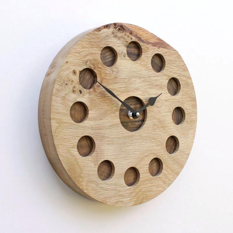 Rustic Burr Oak Wall Clock with Inlaid Walnut