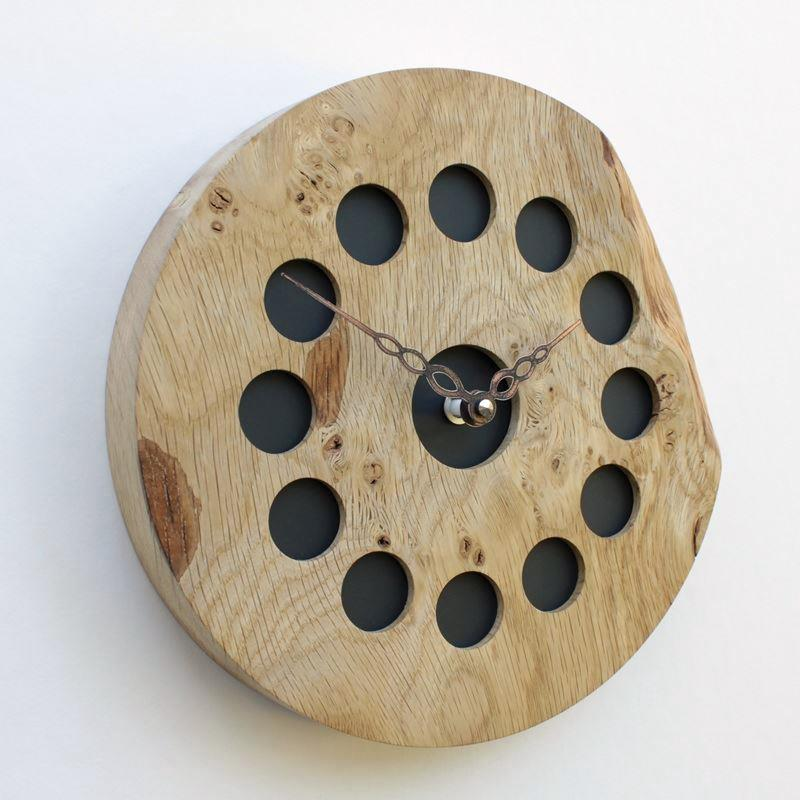 Round Rustic Burr Oak Wall Clock with Inlaid Black Frosted Perspex