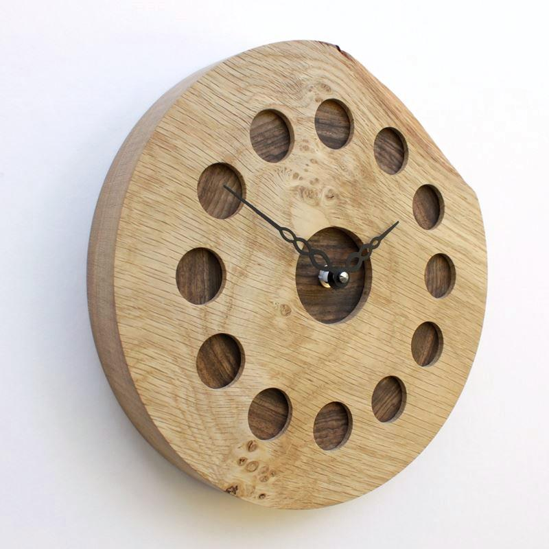 Round Oak Wall Clock with Inlaid Walnut