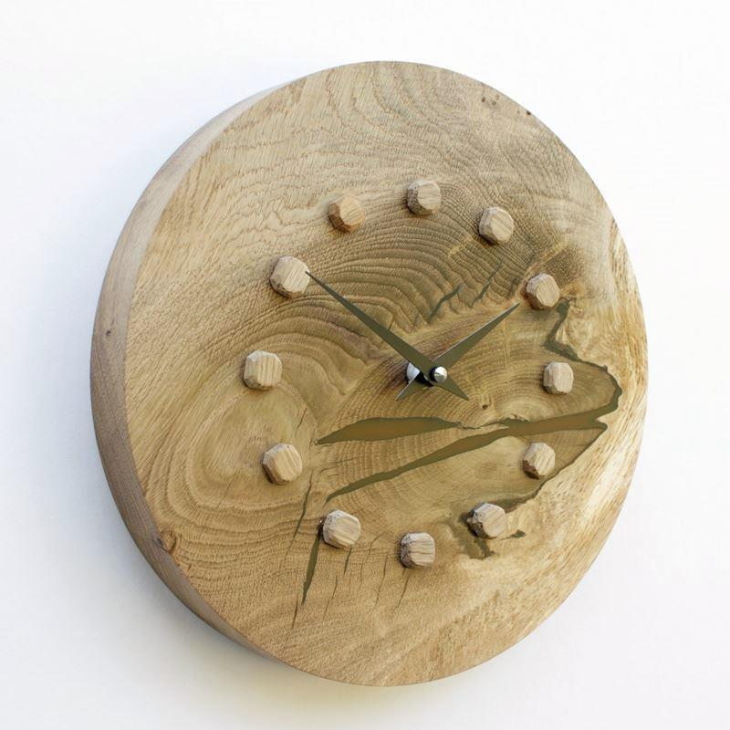 Oak Wall Clock with Infused Resin