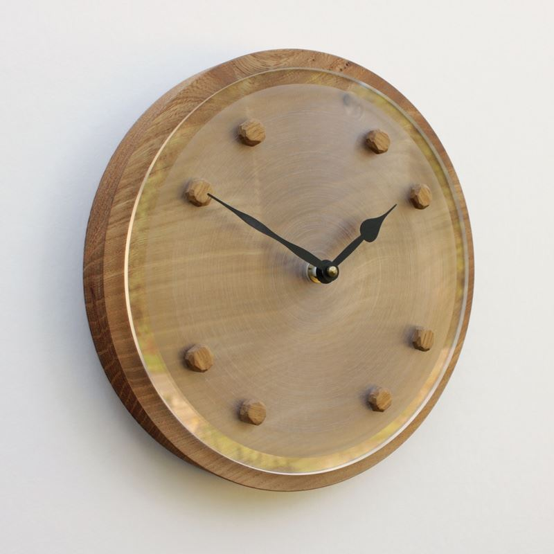 Round Elm Wall Clock with Clear Perspex