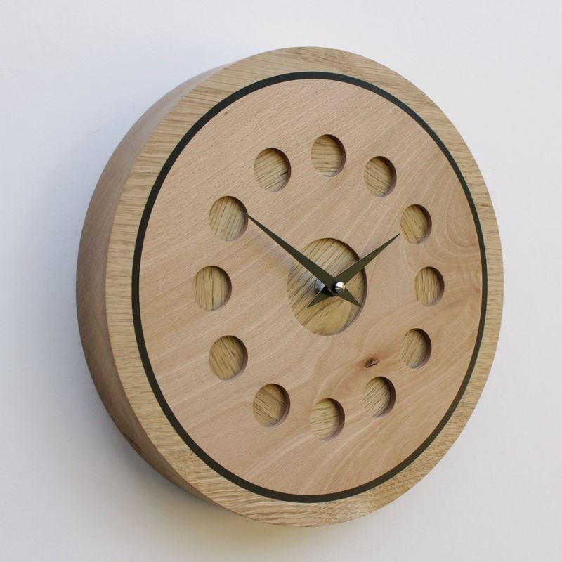 Oak Wall Clock with Inlaid Beech